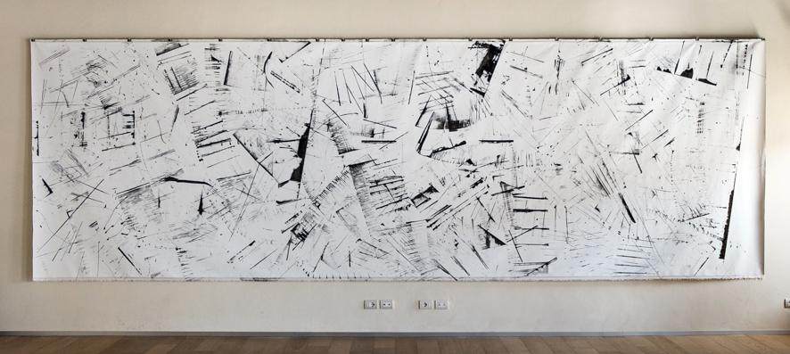 Pippo Lionni 20160518 43°11° acrylic on canvas 2x6.7m