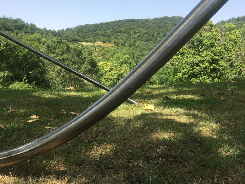 Pippo Lionni 20210623 43°11° steel rod sculpture 165x310x145cm