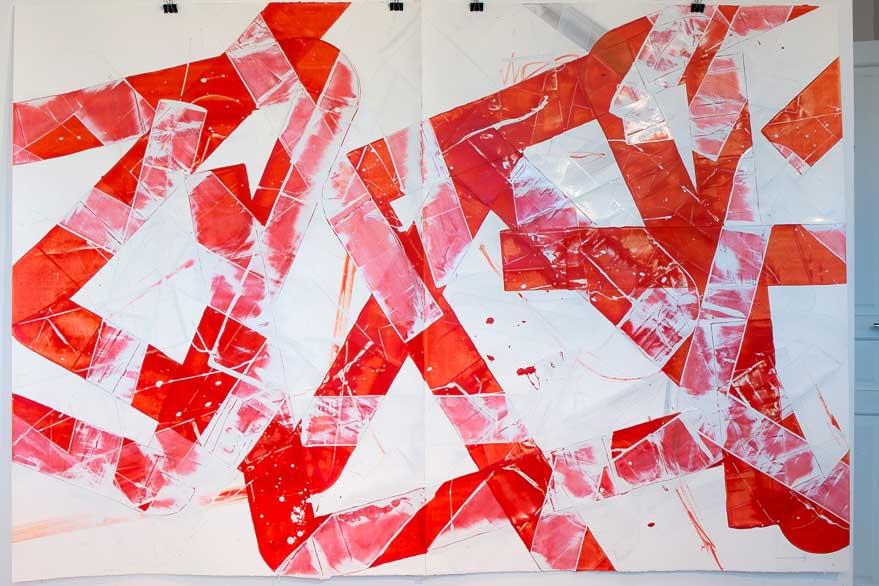 Pippo Lionni, 20150225,48°02°, acrylic on 300g paper, 140x202cm