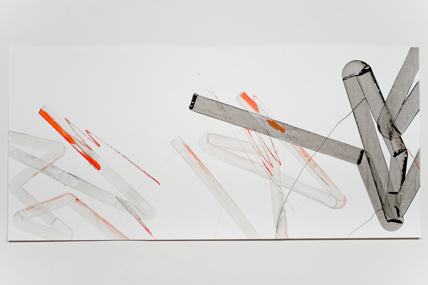 Pippo Lionni-UNTITLED 458, 43°11°, 2013, acrylic on 220g paper, 70x150cm
