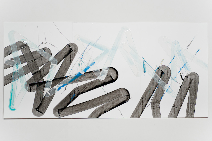 Pippo Lionni-UNTITLED 459, 43°11°, 2013, acrylic on 220g paper, 70x150cm