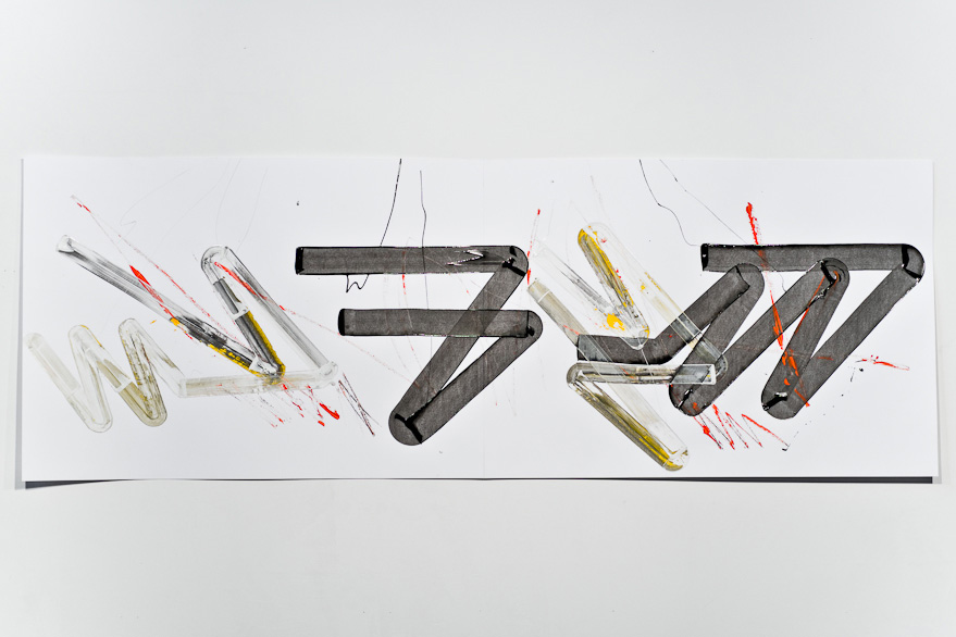 Pippo Lionni-UNTITED 468, 43°11°, 2013, acrylic on 220g paper, 70x200cm
