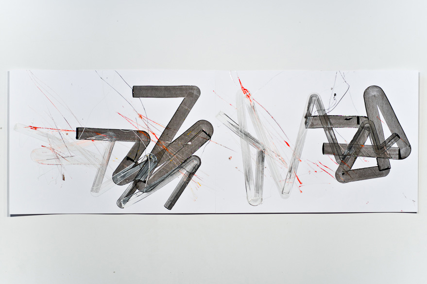Pippo Lionni-UNTITED 469, 43°11°, 2013, acrylic on 220g paper, 70x200cm
