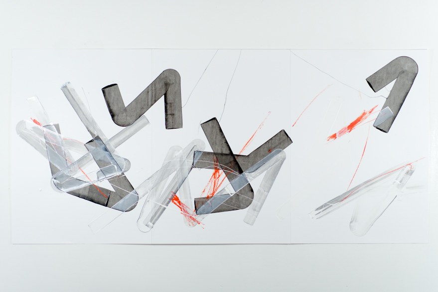 Pippo Lionni, UNTITLED 498, 2013, acrylic on 220g paper, 70x150cm