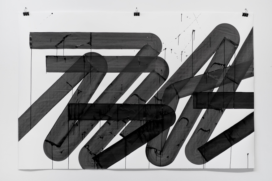 Pippo Lionni, UNTITLED 593, 2014,acrylic on 300g paper, 140x210cm