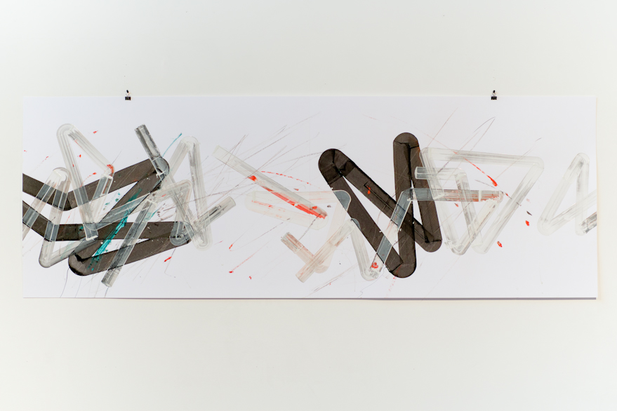 Pippo Lionni, UNTITLED 536, 2014, acrylic on 220g paper, 70x200cm