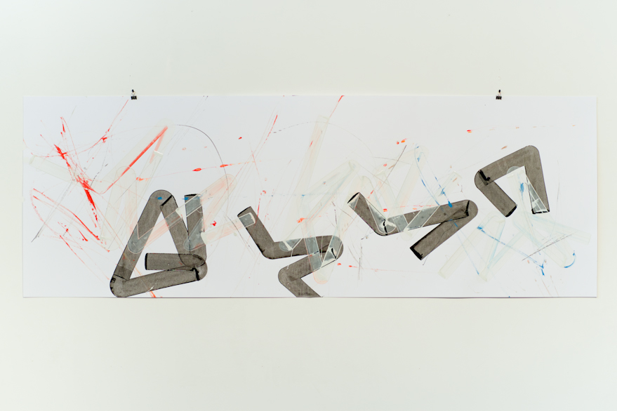 Pippo Lionni, UNTITLED 537, 2014, acrylic on 220g paper, 70x200cm