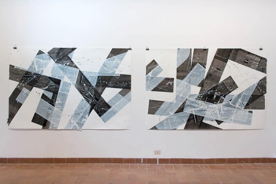 Pippo Lionni, 20150522,43°11°, acrylic on paper, 2x 140x210cm