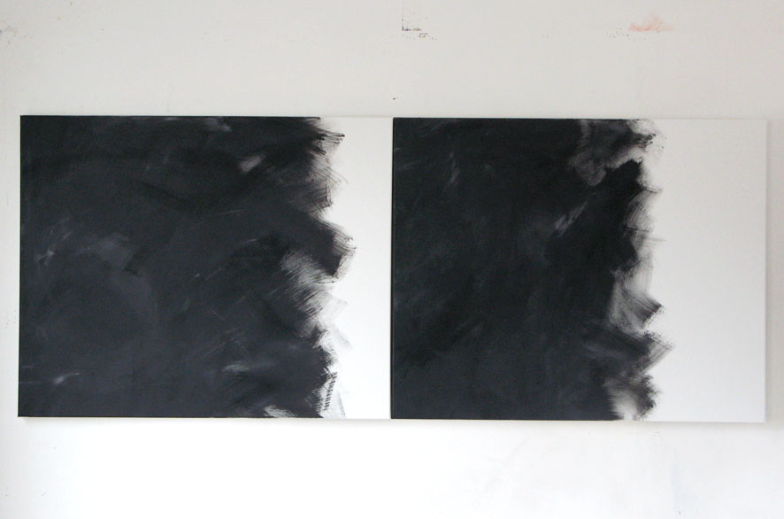 Pippo Lionni GRAYMATTERS 12, 2009, Acylic on canvas, diptych, 200x80cm