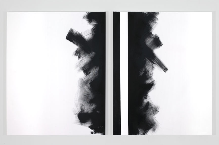pippo lionni - GRAYMATTERS 38, 2010, Acrylic on canvas, diptych, 100x160cm